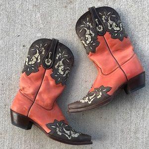 Vintage Tony Lama cowboy boots in Coral